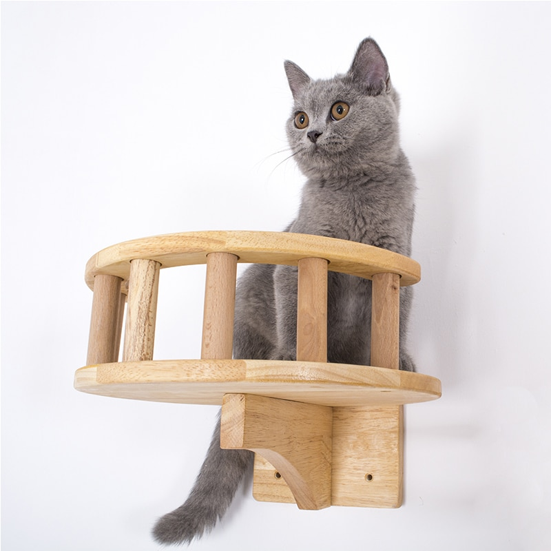 AliExpress - Pet Furniture Wooden Climbing Frame Cat Wall Steps Cat Tree Tower Wall Hanging Kitten Toy House Climbing Frame with Guardrail