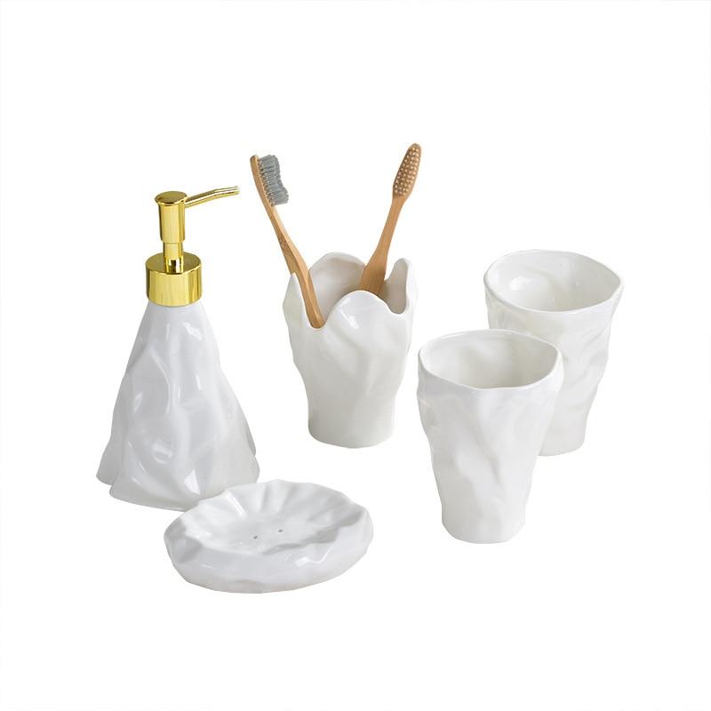 Bathroom Accessories Simple European Bathroom Set Ceramic Toothbrush Holder Soap Dispenser Emulsion Bottle Mouthwash Cup enlarge