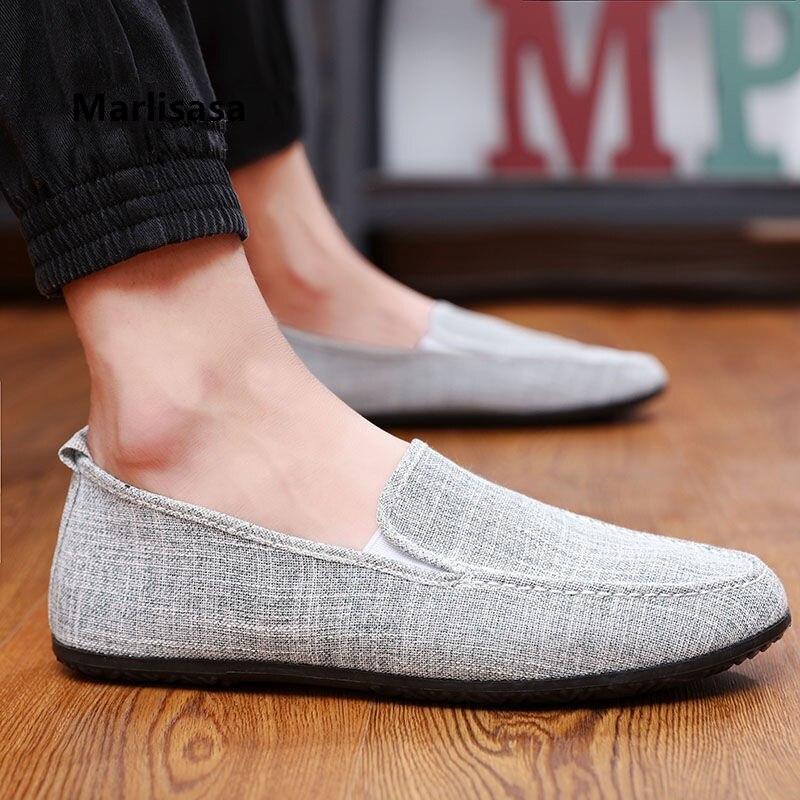 Marliasa, moda masculina, gris, cómodos mocasines sin cordones de primavera para hombre, informal con tira blanca, zapatos de conductor de verano, zapatos informales con estilo F5540
