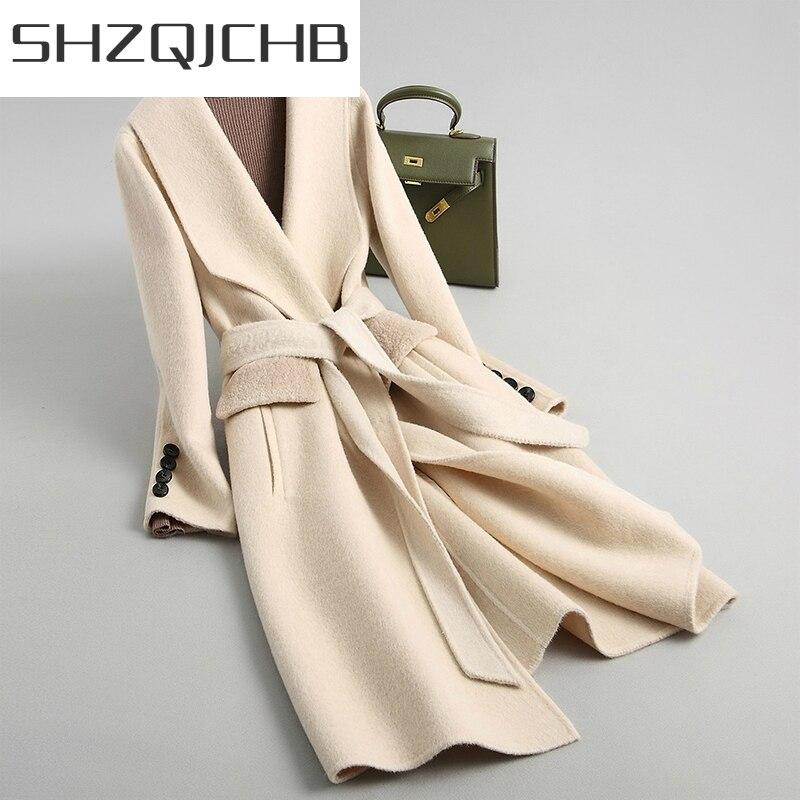 JCGB-Abrigos largos de lana para Mujer, chaquetas de oficina, ropa elegante, Primavera...