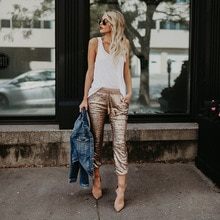 Fashion Women Casual Sequin Glitter Skinny Pants High Waist Drawstring Trousers Pencil Pants