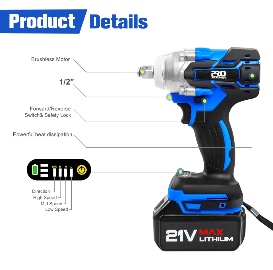 PROSTORMER 21V Brushless Wrench Details