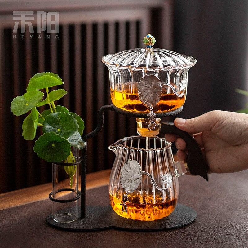 Yunjin التلقائي طقم شاي زجاج كسول طقم شاي هدايا المنزل المغناطيسي المياه تختمر الشاي وير
