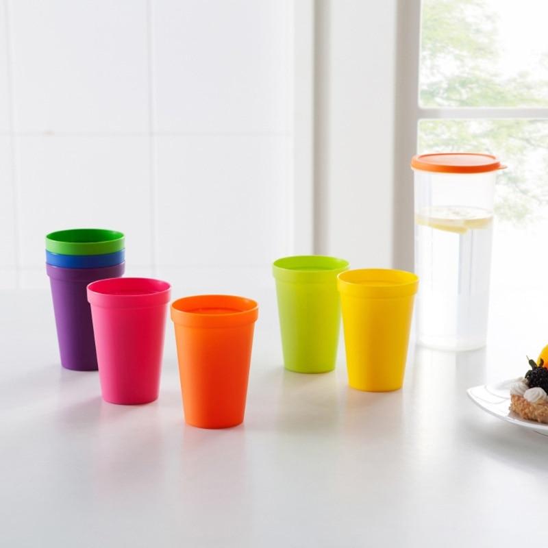 97BC 7PCS Drinking Cup Tooth-brushing Cup Healthy Anti-slip Tumbler Outdoor Camping Mug Colorful Portable Glass Picnic Mug