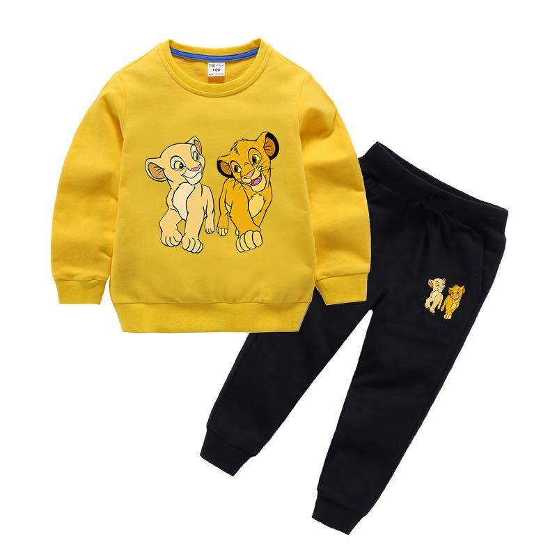 Casual Lion King Printed Children's Clothes for Girls/Boys Cartoon Clothing 2 PCS Set Long Sleeve Sweatshirts Kids Baby Hoodies