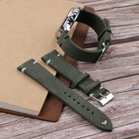 Темно-зеленый замшевый кожаный ремешок для часов Onthelevel ручной работы, 18 мм 20 мм 22 мм, Пряжка из нержавеющей стали с белым и черным швом