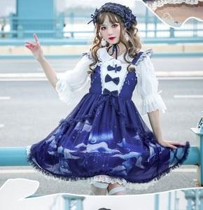Palace princess sweet lolita dress vintage lace bowknot cute printing slim victorian dress kawaii girl gothic lolita jsk cosplay