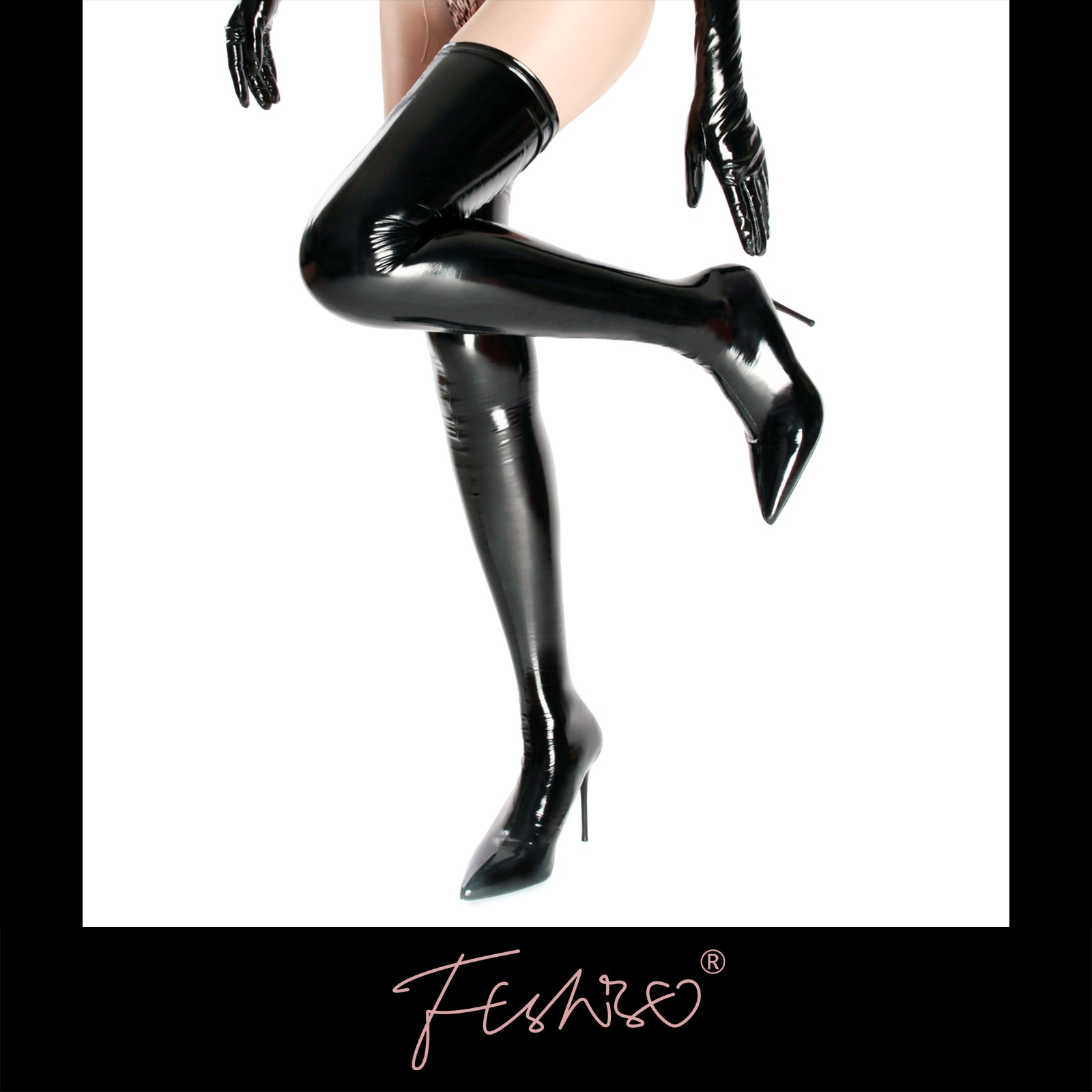Ftshist Sexy Shiny Patent Leather Thigh Boots PU Leather Over The Knee Socks Boots Plus Size Black E