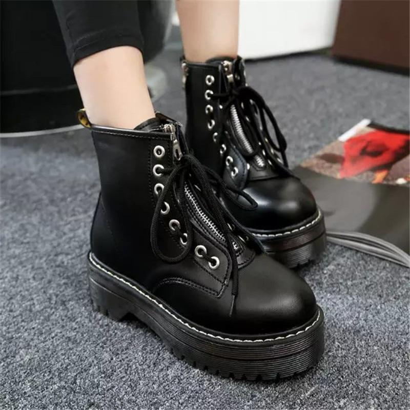 Moda de otoño, zapatos planos con cremallera, plataforma de tacón alto para mujer, botas de cuero de Pu con cordones, zapatos de mujer, botines Dr, talla chicas 35-40
