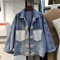 fashion patch diamond sequin pocket vintage blue women denim jacket loose 2021 early spring long sleeve casual jaqueta feminina