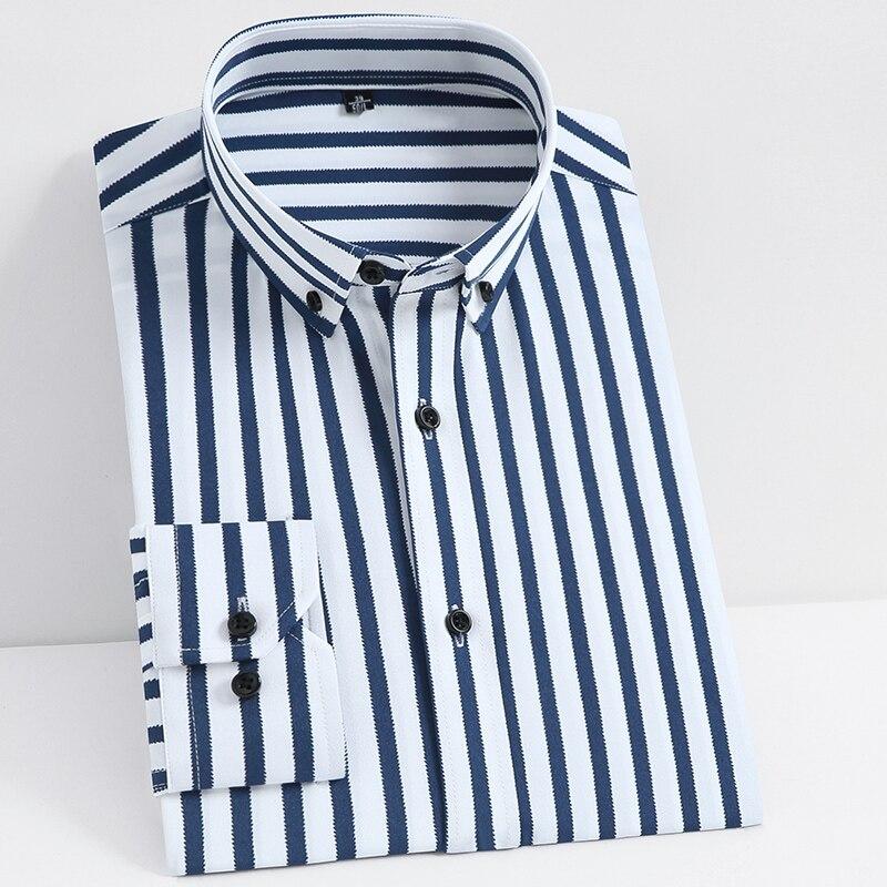 Los hombres no es de hierro-Stretch Casual vestido de rayas camisas único Bolsillo tipo parche de manga larga de forma estándar juvenil Botón-top bajo la camisa