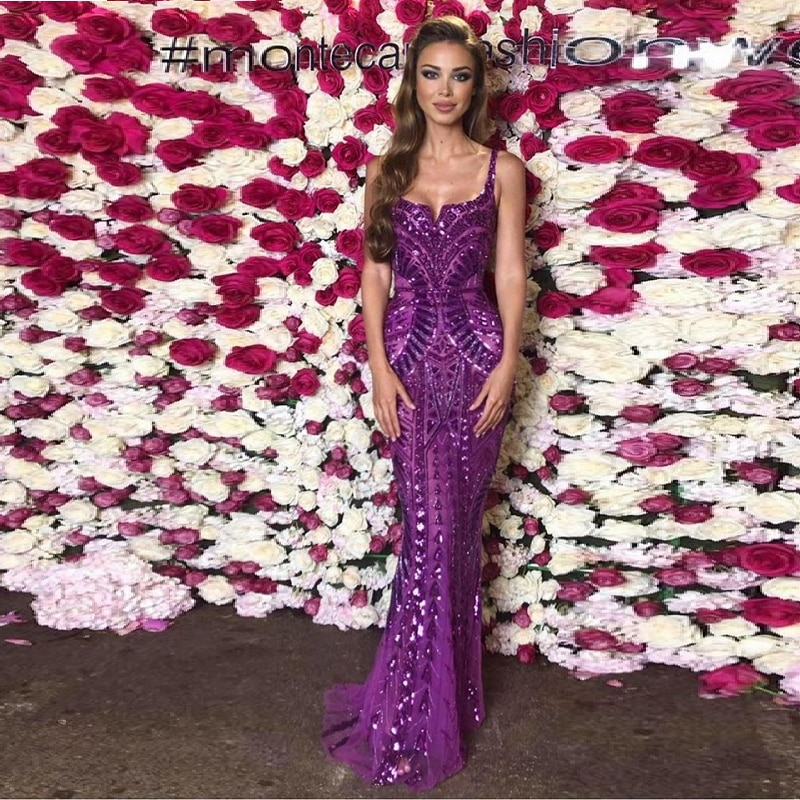 Moda púrpura lentejuelas elegante vestido largo 2019 Sexy SpaghettI Correa Celebrity Runway Festival Evening Party Maxi Vestidos