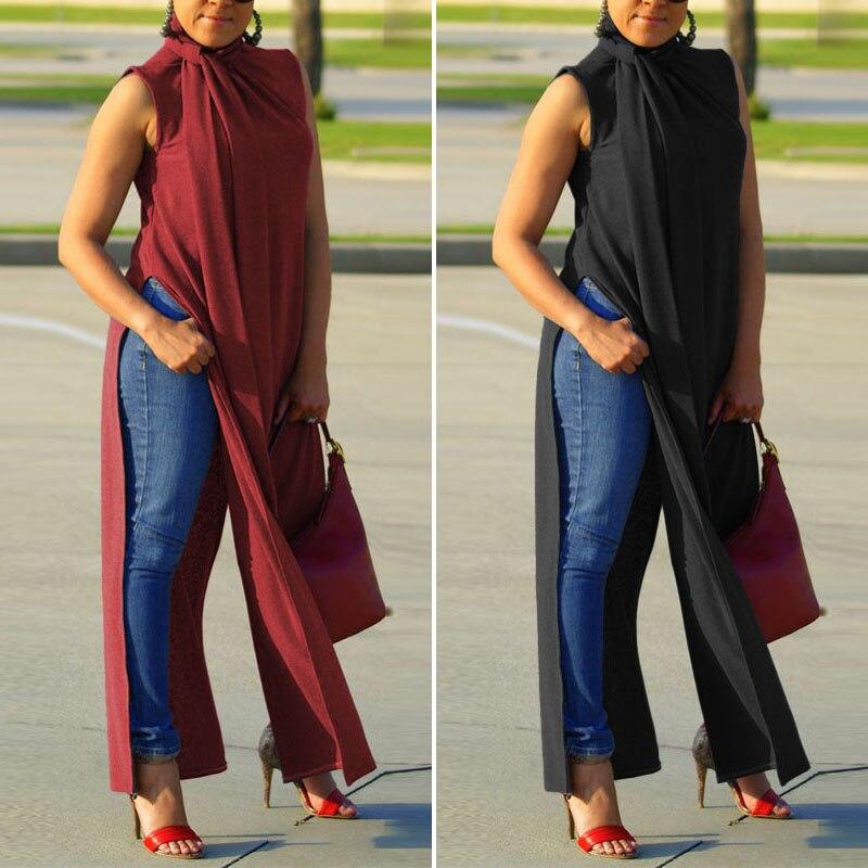 Blusa de corte alto ZANZEA elegante verano Camisetas largas Casual sin mangas cuello alto Camisas Mujer botón Blusas de talla grande