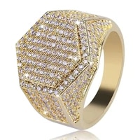 hip hop fashion men ring copper gold silver color iced out bling pave cubic zirconia geometry rings men anniversary charms gift