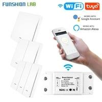 funshion kit rf433 wifi remote control smart switch wall panel transmitter smart lif etuya app works with alexa google home