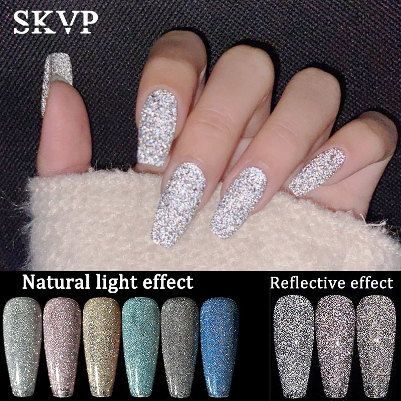 SKVP Sparkling Diamond Gel Nail Polish 8ml Glitter Laser Nail Gel Nail Art Vernish Semi Permanent To