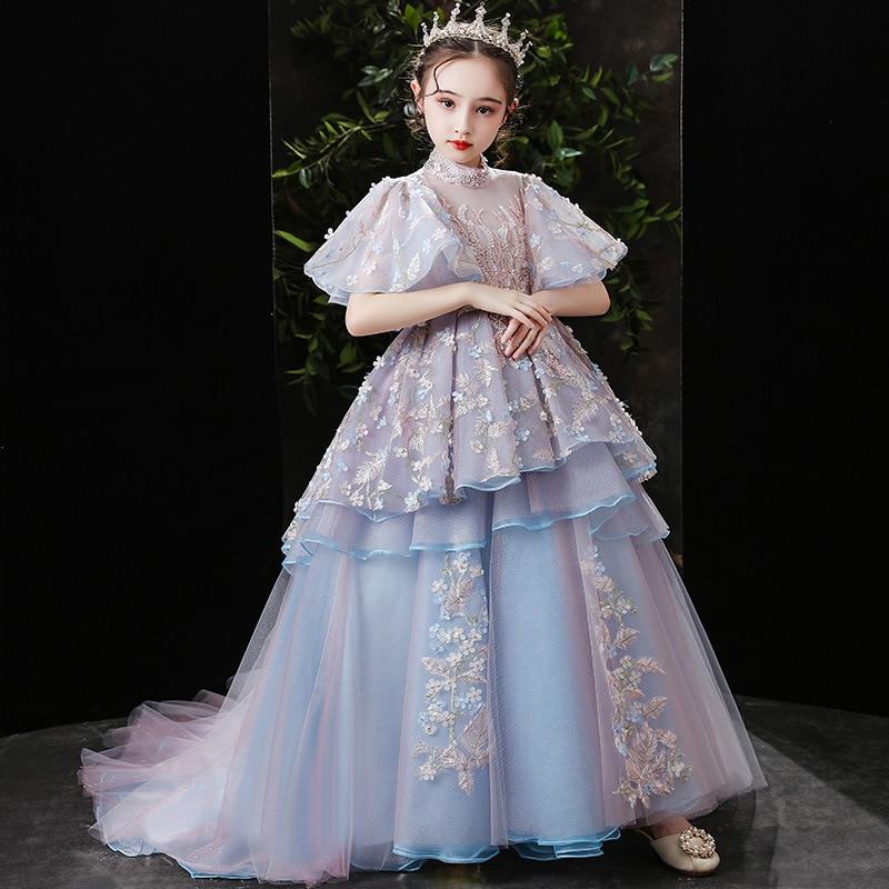 فستان الأميرة مطرز بالترتر ، موضة ، مطرز ، ذيل زهرة ، أكمام واسعة ، ياقة مدورة ، فستان حفلة عيد ميلاد