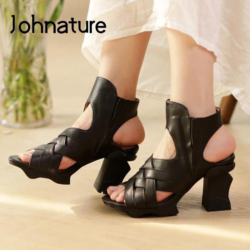 Johnature صندل كعب عالٍ أحذية النساء جلد طبيعي الرجعية شريط مرن 2021 جديد أنيق موجزة صنادل سيدات اليدوية