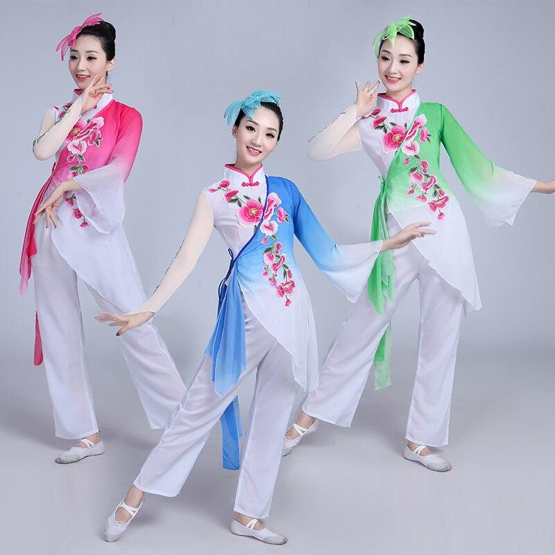 Платье ханьфу в китайском стиле, одежда для классических танцев Янко, женская одежда для выступлений, костюм для национального танца