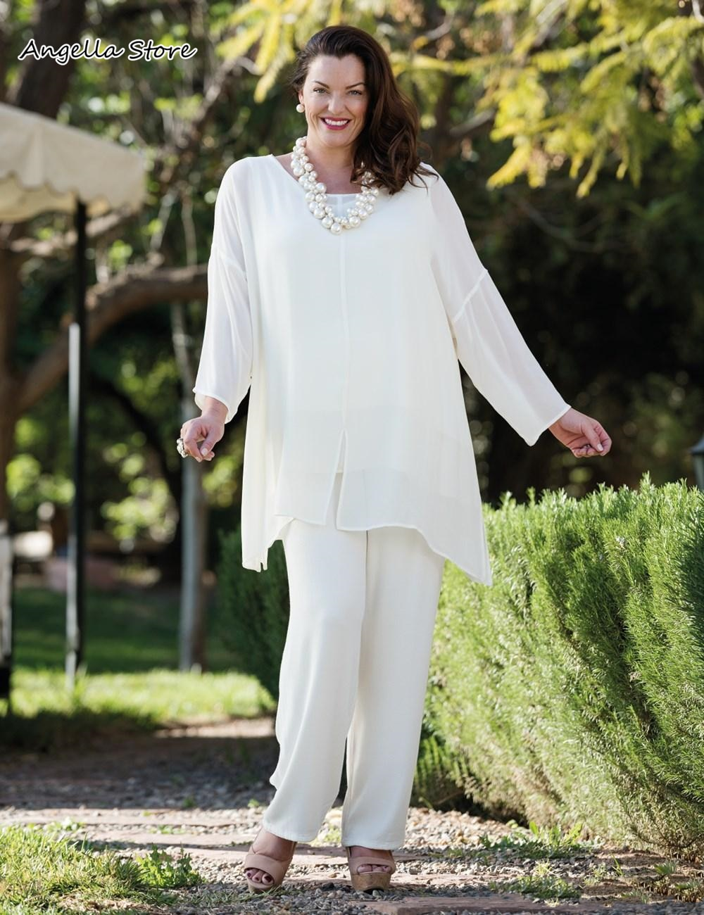 New White Chiffon Mother Of The Bride Pant Suits With Long Sleeves Wedding Guest Dress Plus Size Mom