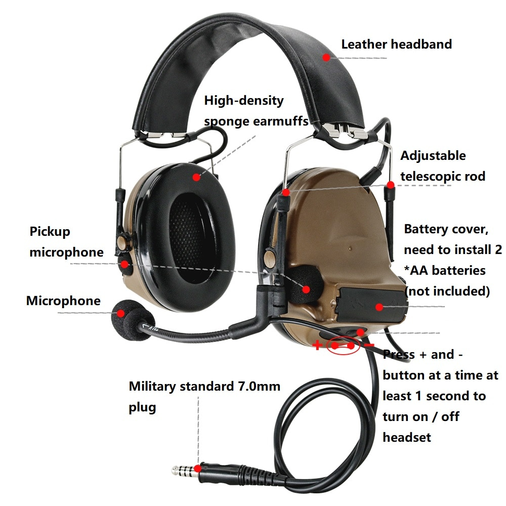 HEARING TACTICAL Military Airsoft Shooting Headphone COMTAC II Tactical Headset Hearing Protection Noise Reduction Pickup Earmuf enlarge