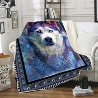husky 3d printed fleece blanket for beds hiking picnic thick quilt fashionable bedspread sherpa throw blanket 02
