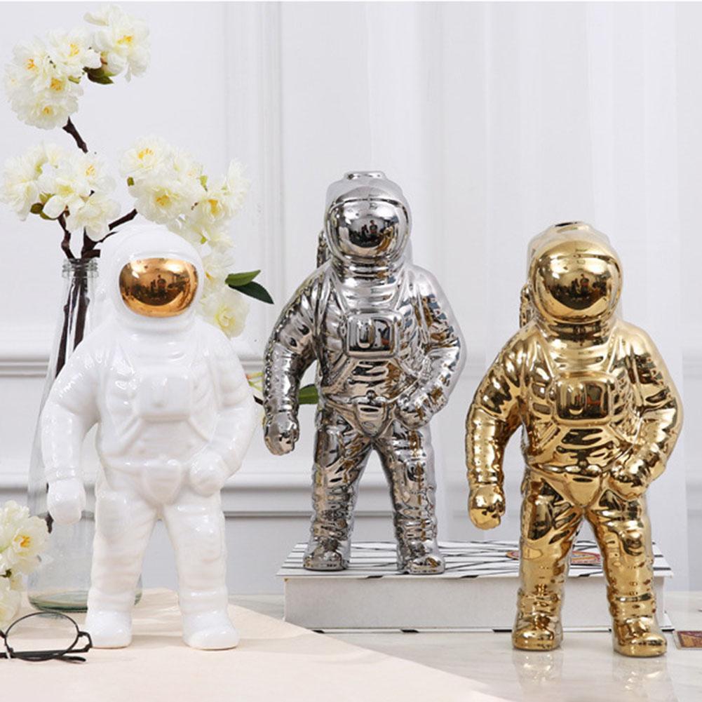 Figuras de cerámica del espacio para hombre, escultura de mesa, decoración de oro, espacio para hombre, escultura de astronauta, jarrón de moda