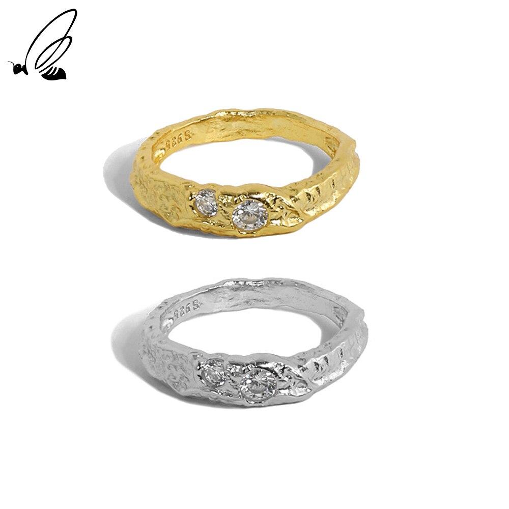 Женское-кольцо-с-фианитом-серебристое-Корейская-версия