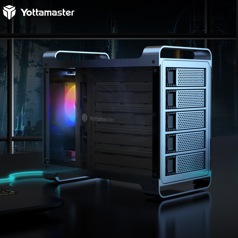Yottamaster 5 Bay USB3.0 External Hard Drive Enclosure Supports 80TB Max and RAID 0/1/3/5/10/Span/Clone/PM RAID Modes-[DF5RU3]