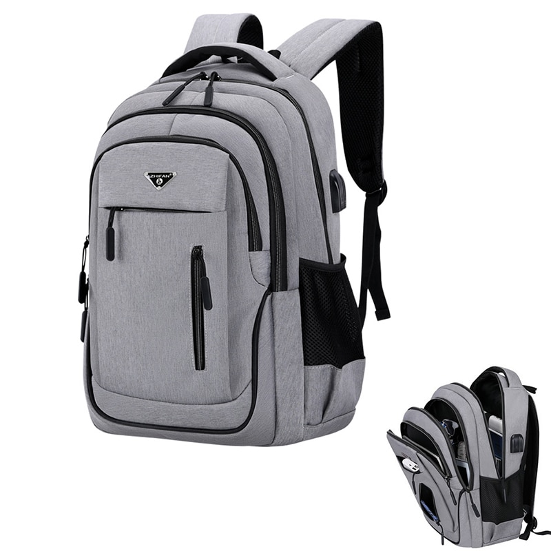 Big Capacity Men Backpack Laptop 15.6 Oxford Gray Solid High School Bags Teen College Student Back P