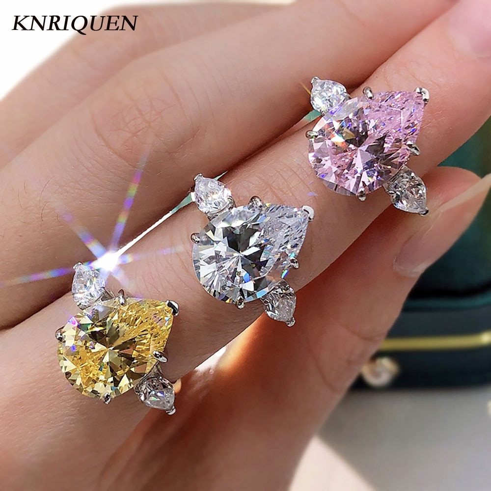 Sunlight 100% 925 Sterling Silver 10*14mm Water Drop Topaz High Carbon Diamond Rings for Women Wedding Party FIne Jewelry Gifts