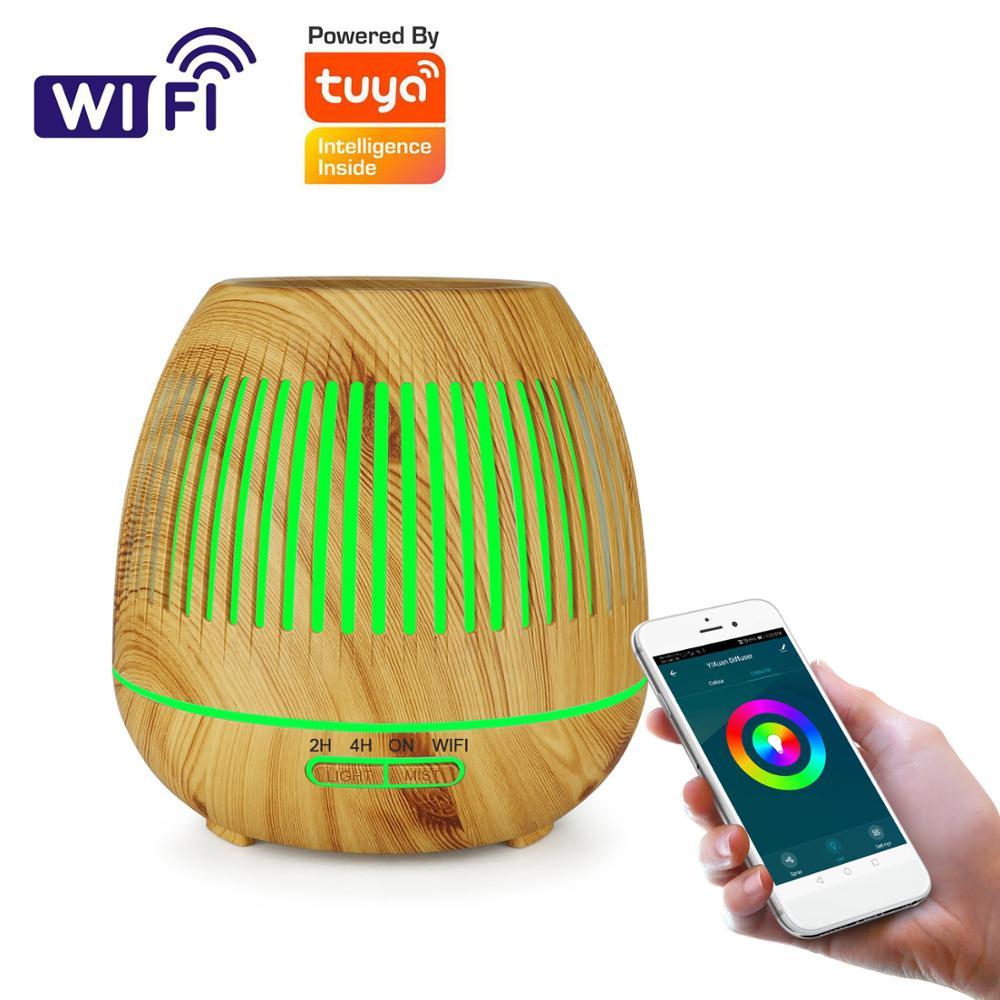 Tuya-difusor inteligente WiFi, humidificador de aceites esenciales ultrasónico de 400ml, en color madera, luz LED de aromaterapia para el hogar
