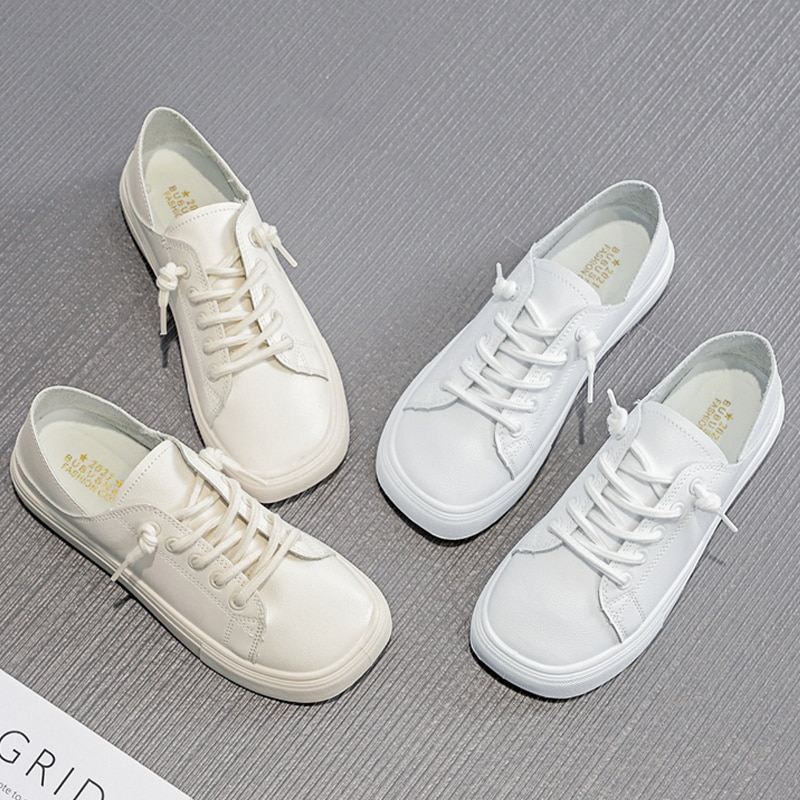 Women Casual Sneakers Bonded leather White Sneakers,Breathable Sneakers,Comfort Shoes,Women's Vulcanize Shoes Flat Shoes Female