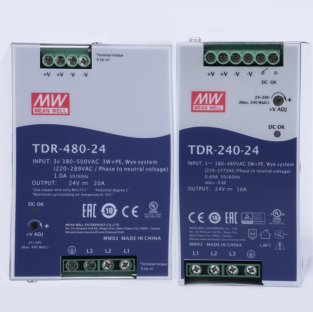TDR-240/480/960 vatios trifásico industrial DIN Rail fuente de alimentación con PFC 330v/550v ac dc 24/48v Mean well alta potencia
