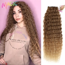 """MAGIC Deep Curly Synthetic Hair Weave Deep Wave Hair Bundles 28""""30""""32""""Inches Ombre Color Two Tone Curly Hair Extension 120g"""