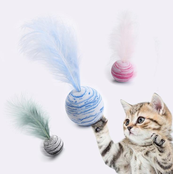 Juguete para gatos, Pelota de espuma suave de EVA con estrellas y plumas, juguete divertido interactivo, varita para hacer ejercicio, juguete para gatos
