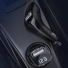 F40 FM transmetteur sans fil modulateur Bluetooth 5.0 AUX-out Kit mains libres voiture U disque lecteur MP3 double USB accès style intérieur