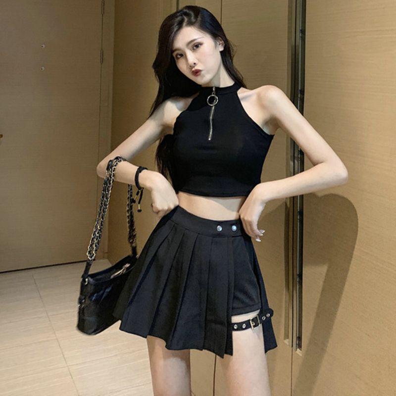 Mulheres harajuku punk irregular mini plissado skater saia assimétrica recorte cintura alta hip hop clubwear com shorts