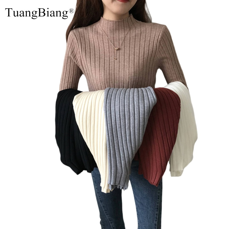 Meia gola alta pullovers elástico fino senhoras camisola feminina com nervuras elástico esticado jumpers outono inverno básico cáqui malha topos