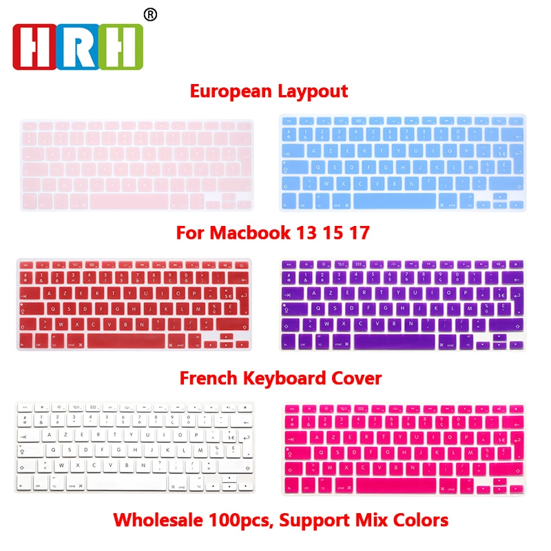 HRH 100pcs AZERTY French UK Silicone Keyboard Cover Skin Protector for MacBook Pro Air 13 15 17 Air 13 RetinaDisplay Before 2016