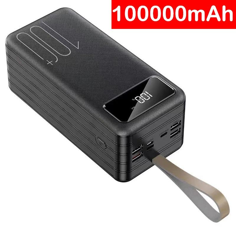 100000mAh قوة البنك المحمولة شاحن بطارية خارجية Powerbank LED Poverbank آيفون 12 برو 11 باد ماك بوك الهواتف أقراص