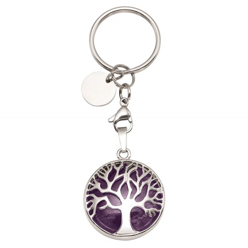 FYJS Unique Silver Plated Tree of Life Circle Lobster Clasp Natural Purple Amethysts Round Key Chain Stone Jewelry