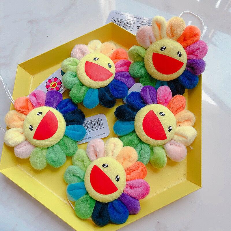 Flor takashi murakami kiki kaikai broche arco-íris pino crachá cinta de pelúcia brinquedos bonitos
