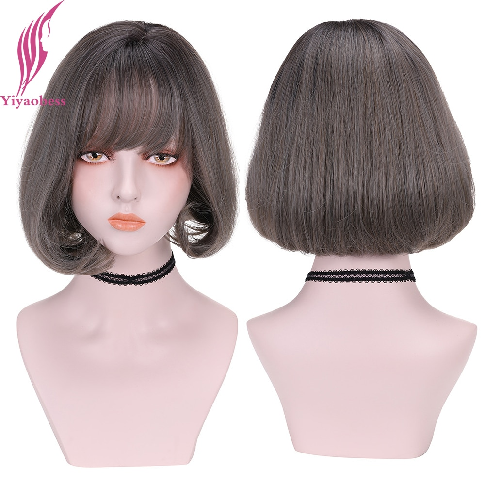 Yiyaobess Synthetic Linen Grey Mix Pink Brown Short Bob Wig With Bangs Natural Hair Wigs For Women High Temperature Pelucas