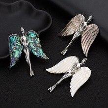 LOULEUR coquille naturelle ange collier pendentif coquille blanche aile pendentif à breloque bijoux Makings femmes cadeau