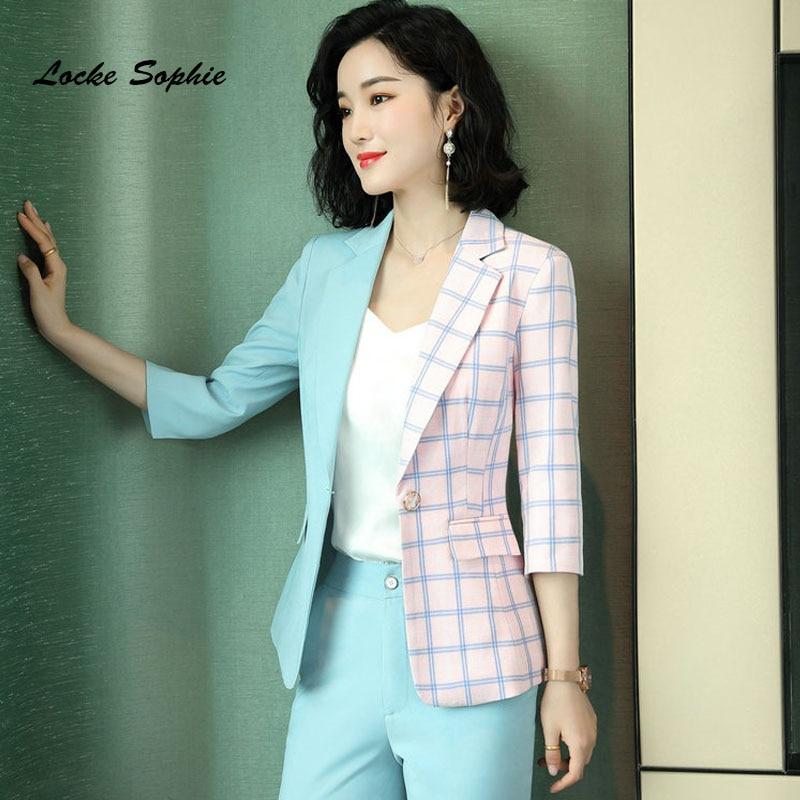 1pcs Women Plus size Blazers coats 2020 Spring Fashion cotton plaid Mixed color Small Suits jackets ladies Skinny Blazers Suits