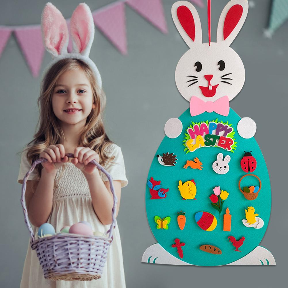 2020 páscoa sentiu pingente diy coelho de feltro conjunto com destacável ornamento coelho decoração parede pendurado crianças presente decoração