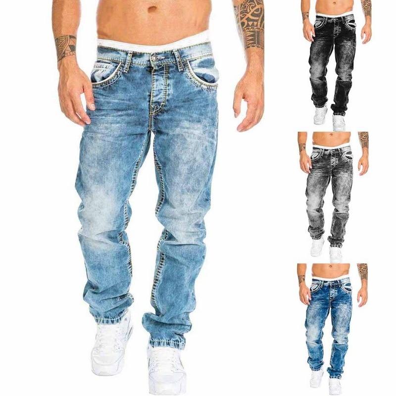 2020 herbst Mode Lose Mid-Taille Tasche Denim Gerade Hosen männer Casual Gewaschen Jeans Schwarze Jeans
