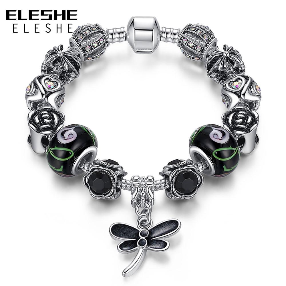 ELESHE chapados en plata mariposa alas de Ángel con plumas pulsera del encanto para las mujeres de los granos de cristal de Murano pulsera y brazaletes de venta de liquidación