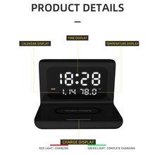 Horloge électrique calendrier perpétuel chargeur sans fil LED de bureau réveil numérique avec 10W chargeur de téléphone portable sans fil